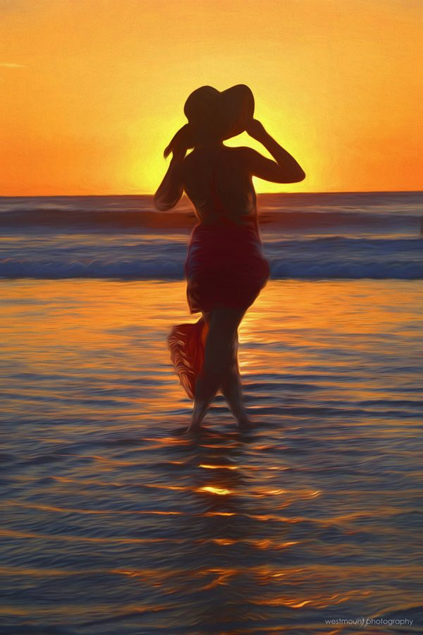 costa-rica-sunset-lady-ocean-hat-wading-photo-art