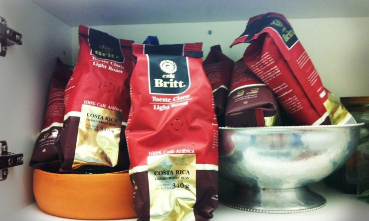 A cupboard full of Costa Rican coffee