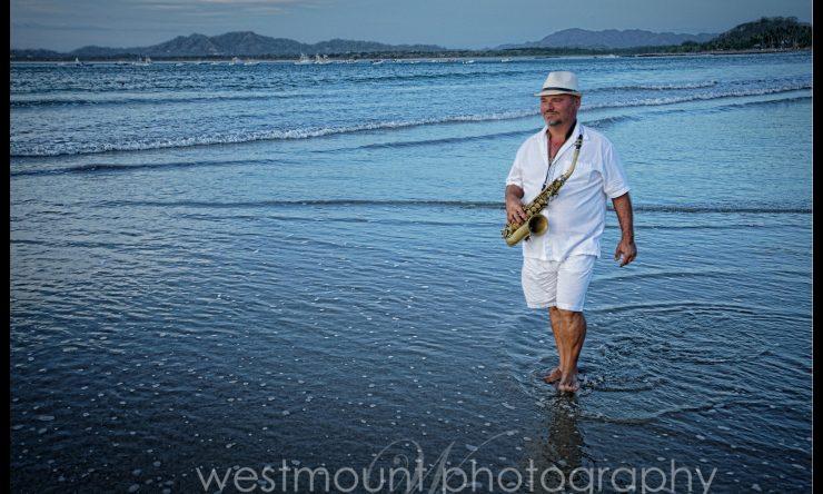 Joe Hrbek, a world class sax player in Tamarindo, Costa Rica
