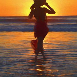 costa-rica-sunset-lady-ocean-hat-wading-photo-art